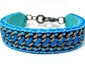 Star Twister on Leather - Designer Bracelet with Chains and Thread - Aqua Blue & Bright Blue