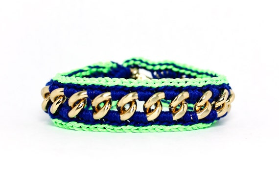 Star Struck - Designer Friendship Bracelet with Chain and Thread - Neon Green & Royal Blue - Made To Order