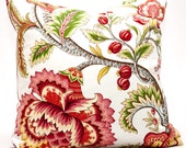 Summerlin Designer Decorative Pillow Cover 17 nch - vibrant green lipstick red contemporary floral fresh spring pillow cover