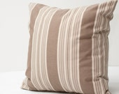 Mixed Stripe Decorative Pillow Cover - brown beige vintage french country cottage chic 18 inch pillow