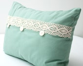 Teal and Lace Decorative Lumbar Pillow Cover WITH INSERT - beige lace teal aqua blue vintage country cottage envelope pillow 14 x 20 inch
