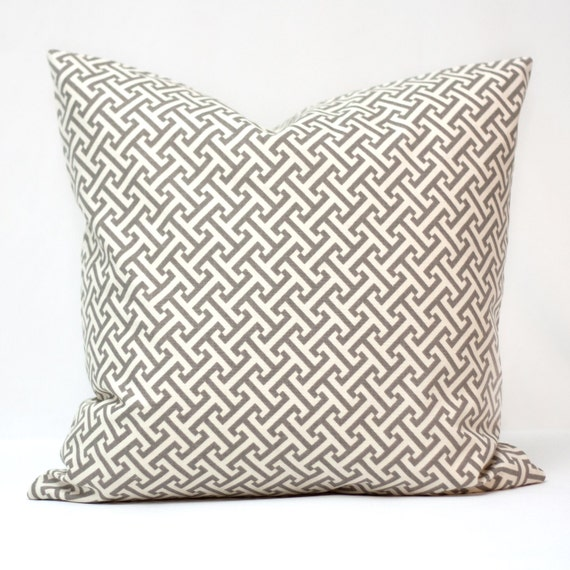 Geometric grey pkaufmann decorative pillow cover - cross section contemporary cream/ivory and grey 18 inch
