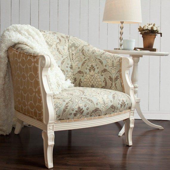 RESERVED FOR CAGWIN -- Twilo Venezia Side Chair - Romantic whimsical french country cottage vintage plush upholstered bedroom chair