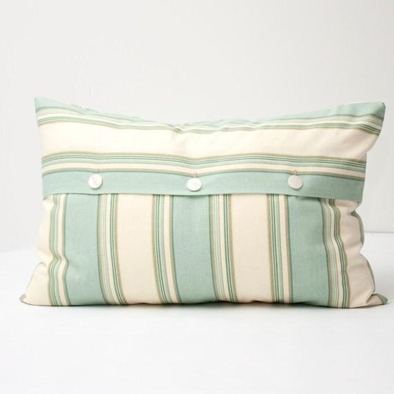 Classic Stripe Aqua Cream Decorative Lumbar Pillow Cover -  contemporary beach envelope pillow 16 x 24 inch