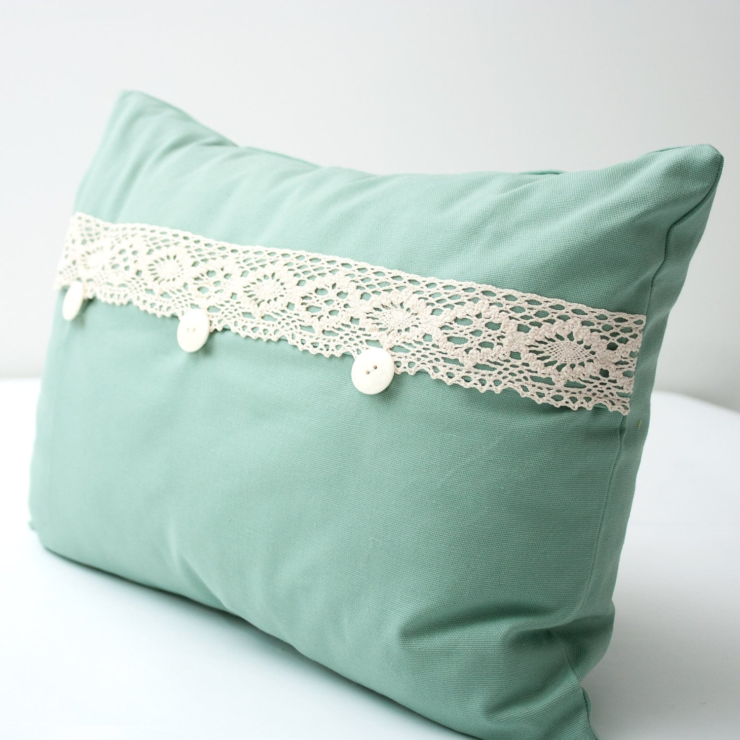 Teal Decorative Bed Pillows : Teal and Lace Decorative Lumbar Pillow Cover by alexisandradesign