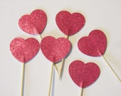 Heart Cupcake Toppers-Pink Sparke-Double Sided