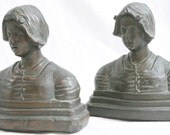 1920's Armor Bronze Bookend Set Dutch Girl Bronze Clad - YardSaleYuppie