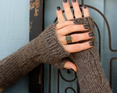 Knit Fingerless Gloves/Arm Warmers, Bulky, Dystopian Style, in Tarnished Gray