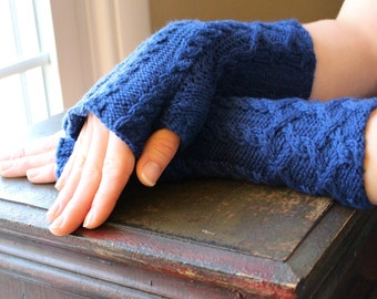 Knit Lattice Cable Fingerless Gloves Arm Warmers in Dusk Blue