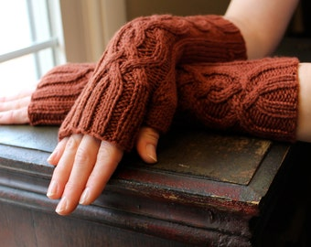 Knit Cabled Fingerless Gloves Arm Warmers in Burnt Orange