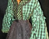 1800s Civil War Bodice Green with Pagoda Sleeves Silk Taffeta Green Checked Dress Bodice LAYAWAY Available