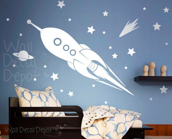 Space Rocket Ship Wall Decal Kids Boy Wall Decal By