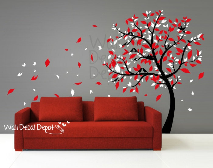 Blowing Tree Wall Decal Wall Sticker Vinyl Art by
