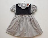 SALE: Vintage grey striped girl's dress