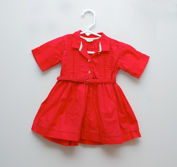 Vintage 1950s girl's red belted party dress