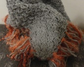 Awesome Grey Triangle Knit Scarf with Fringe