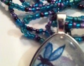 Hand painted Jewelry Wearable Art Dragonfly Pendant with Watercolor Original Painting and Beadwork