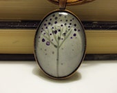 Wearable Art Pendant Watercolor Abstract Flower with Lace Necklace