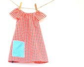 Girls Peasant Dress / Vintage Fabric / Upcycled / Red Gingham / 'Ruby' newborn - 6T