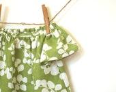 Girls Peasant Dress / Linen Blend / Grass Green Floral / 'Ivy'