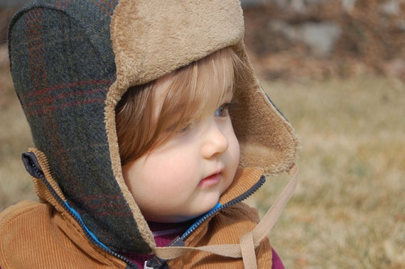 RESERVED for Vanessa - Wee Wool Bomber Hat for Baby Toddler Kids