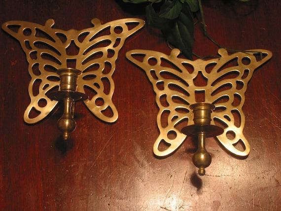 Vintage Set of 2 Brass Butterfly Sconces