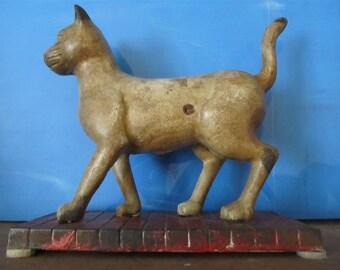 Antique Primitive Folk Art Cast Iron Cat Bank