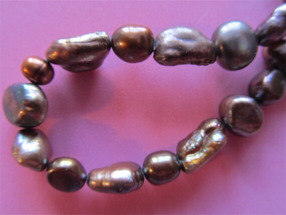 Chocolate Brown Freshwater Pearl Necklace            Vermont Handcraft