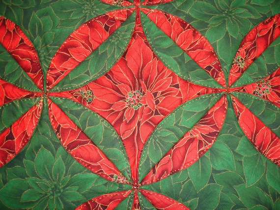 christmas Table table Quilt Christmas Top  Table  Red Poinsettia  Centerpiece runner  canada    Runner