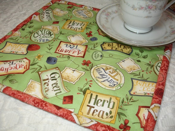 Mug Rug Snack Mat Quilt - Set of Two - Tea Bags - Green, Red