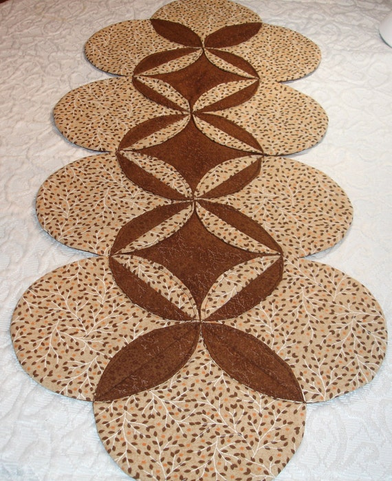 Autumn Fall Table Runner Quilt Centerpiece - Brown, Tan - Leaves