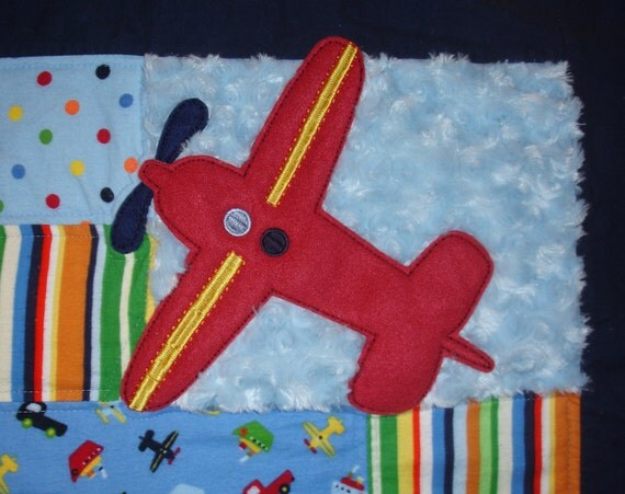 Baby Boy Crib or Toddler Blanket Quilt - Blue, Red, Green - Airplane, Truck, Boat