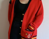 Vintage 80s Red Nautical Cardigan Sweater