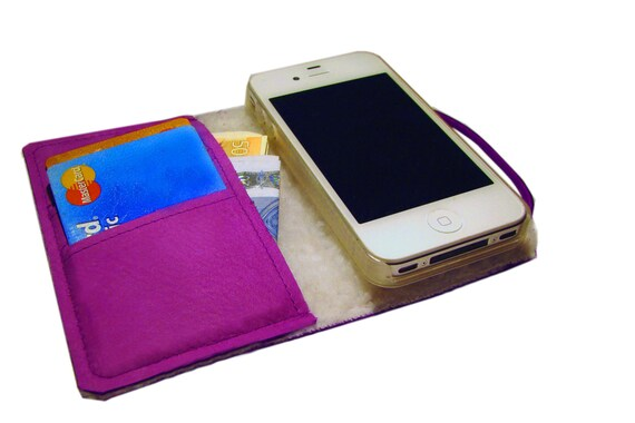 "iPhone leather wallet ""FURLICIOUS"" Purple"