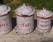 Vintage French enamelware storage jars