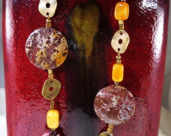 Mookaite and Antiqued Brass Necklace