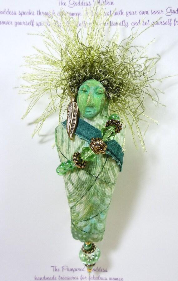 The Green Goddess Pin - Batik, Beads, Leather (Free US Shipping)