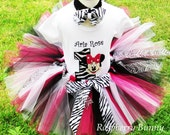 Zebra Minnie Mouse Birthday Tutu Outfit with Hair Bow Headband - Birthday Tutu Outfits - Minnie Mouse