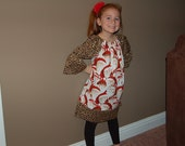 Girls Peasant Christmas dress... and matching doll dress