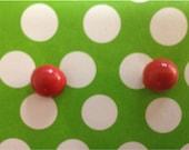 medium pink dot stud earrings