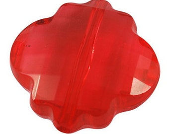 065-  Acrylic beads, faceted, flower, red, 23mm diametre, 10mm thick (6 pcs)