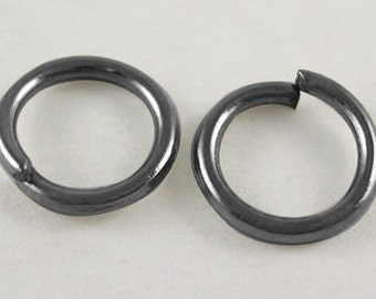 066- Jumprings, close but unsoldered, Nickel free, black, 6mm, .7mm thick (100 pcs)