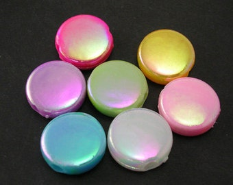 115- Acrylic Beads, Flat Round, Mixed Color, AB Color, about 17mm in diameter, 6mm thick, (35 pcs)