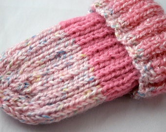 Pink Preemie Cap-Hand Knit- Striped Baby Hat- Charity Donation- Ready To Ship