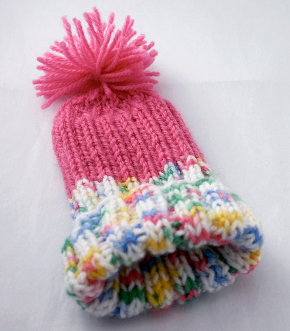 Pink Preemie Hat-Hand Knit Baby Cap With Pom Pom-Charity Donation