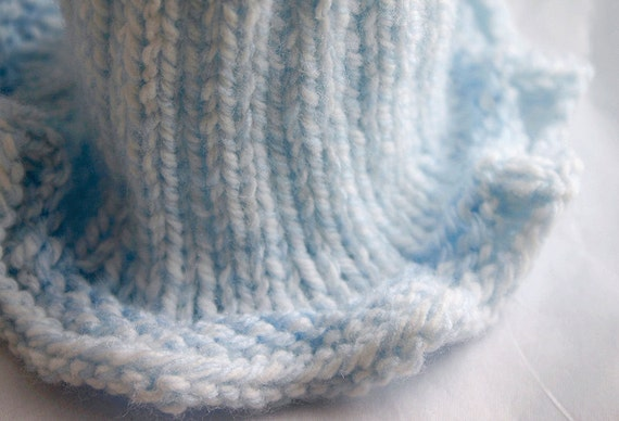 Blue Preemie Knit Baby Hat- Hand Knitted Infant Cap- Boy or GIrl- Charity Donation - Free US Shipping