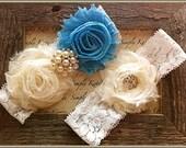 Wedding Garter- Vintage Wedding Bridal Garter and Toss Garter- Ivory and Pearl Rhinestone Garter- Something Blue