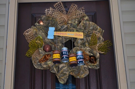 Hillbilly Wreath, Redneck Wreath, Beer Wreath, Camouflage Wreath, Burlap Wreath, Hunting Wreath, Fishing Wreath