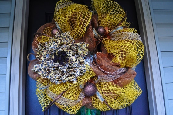 Cheetah Print Deco Mesh Wreath, Wreath, Deco Mesh, Cheetah