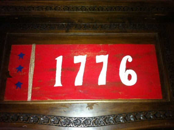"Patriotic ""1776"" Fourth of July Wood Sign"